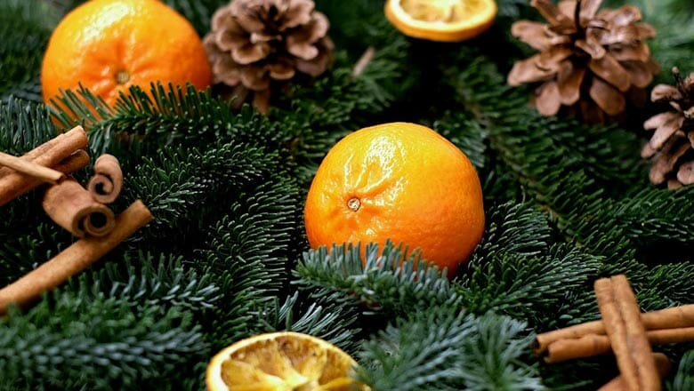 Mandarin and Christmas tree