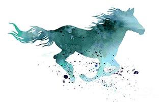 лошадь графика акварель