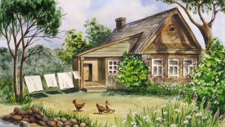 домик в деревне рисунок