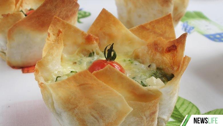 Корзиночки из лаваша с салатом