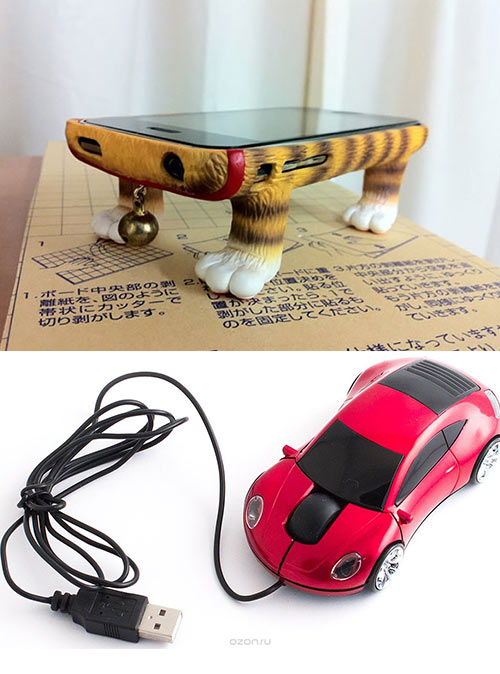 чехол для смартфона и мышь-машинка