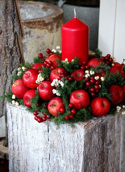 новогодний декор яблоки