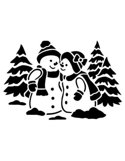 снеговик трафарет